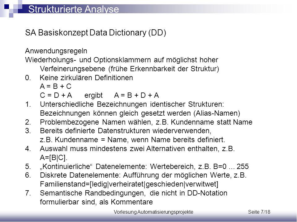 Vorlesung Automatisierungsprojekte Seite 7/18 SA Basiskonzept Data Dictionary (DD) Anwendungsregeln Wiederholungs- und Optionsklammern auf möglichst h