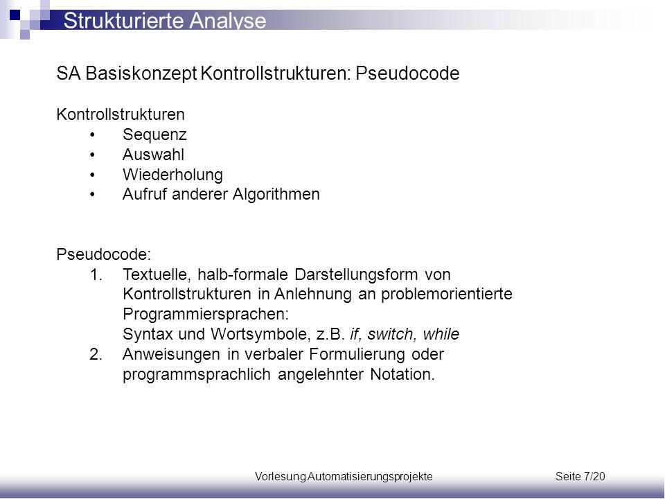 Vorlesung Automatisierungsprojekte Seite 7/20 SA Basiskonzept Kontrollstrukturen: Pseudocode Kontrollstrukturen Sequenz Auswahl Wiederholung Aufruf an