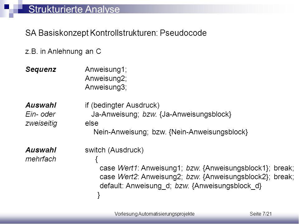 Vorlesung Automatisierungsprojekte Seite 7/21 SA Basiskonzept Kontrollstrukturen: Pseudocode z.B. in Anlehnung an C SequenzAnweisung1; Anweisung2; Anw