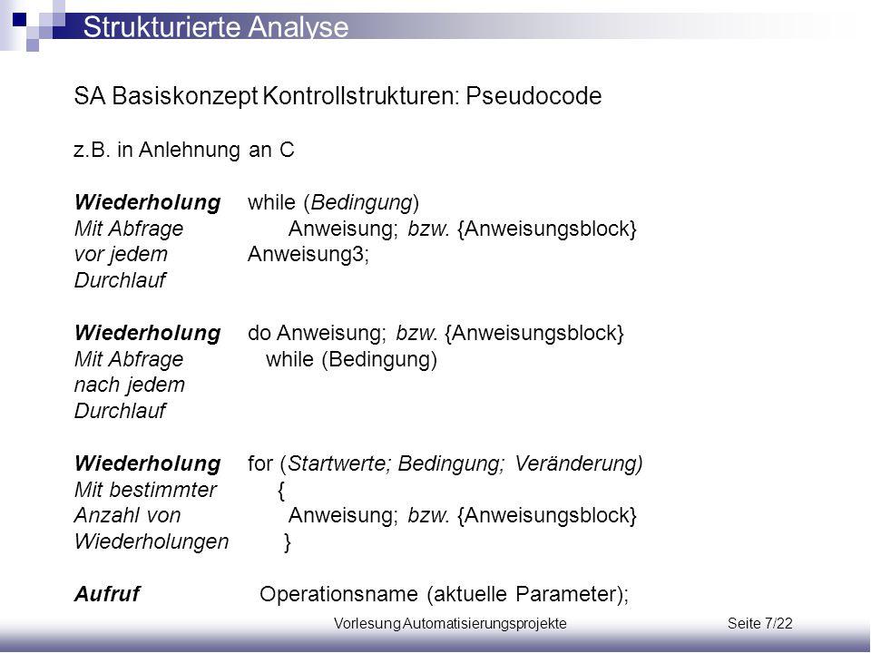 Vorlesung Automatisierungsprojekte Seite 7/22 SA Basiskonzept Kontrollstrukturen: Pseudocode z.B. in Anlehnung an C Wiederholungwhile (Bedingung) Mit