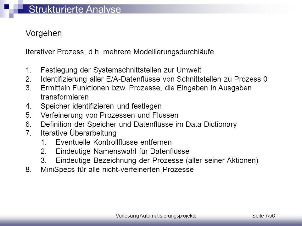 Vorlesung Automatisierungsprojekte Seite 7/56 Vorgehen Iterativer Prozess, d.h. mehrere Modellierungsdurchläufe 1.Festlegung der Systemschnittstellen