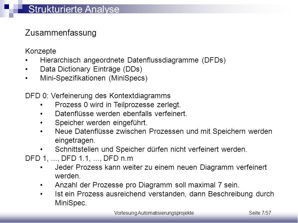Vorlesung Automatisierungsprojekte Seite 7/57 Zusammenfassung Konzepte Hierarchisch angeordnete Datenflussdiagramme (DFDs) Data Dictionary Einträge (D