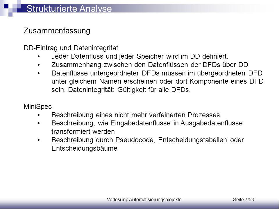 Vorlesung Automatisierungsprojekte Seite 7/58 Zusammenfassung DD-Eintrag und Datenintegrität Jeder Datenfluss und jeder Speicher wird im DD definiert.