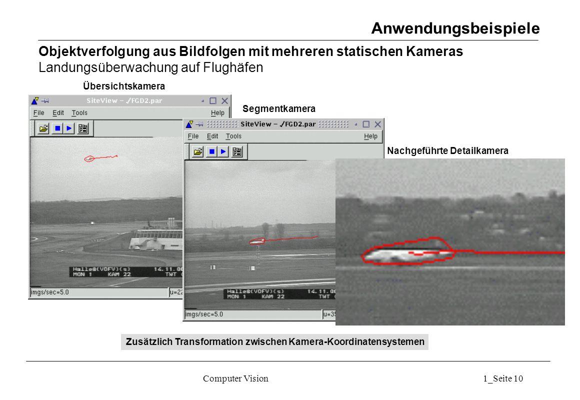 Computer Vision1_Seite 10 Übersichtskamera Segmentkamera Nachgeführte Detailkamera Anwendungsbeispiele Objektverfolgung aus Bildfolgen mit mehreren statischen Kameras Landungsüberwachung auf Flughäfen Zusätzlich Transformation zwischen Kamera-Koordinatensystemen