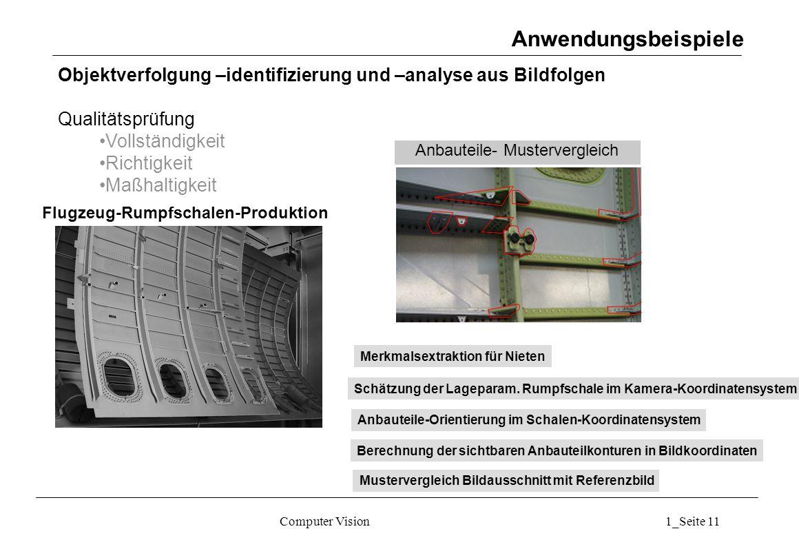 Computer Vision1_Seite 11 Anwendungsbeispiele Objektverfolgung –identifizierung und –analyse aus Bildfolgen Qualitätsprüfung Vollständigkeit Richtigkeit Maßhaltigkeit Anbauteile- Mustervergleich Flugzeug-Rumpfschalen-Produktion Schätzung der Lageparam.
