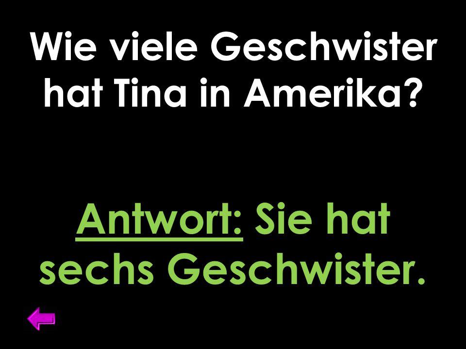 Wie viele Geschwister hat Tina in Amerika? Antwort: Sie hat sechs Geschwister.