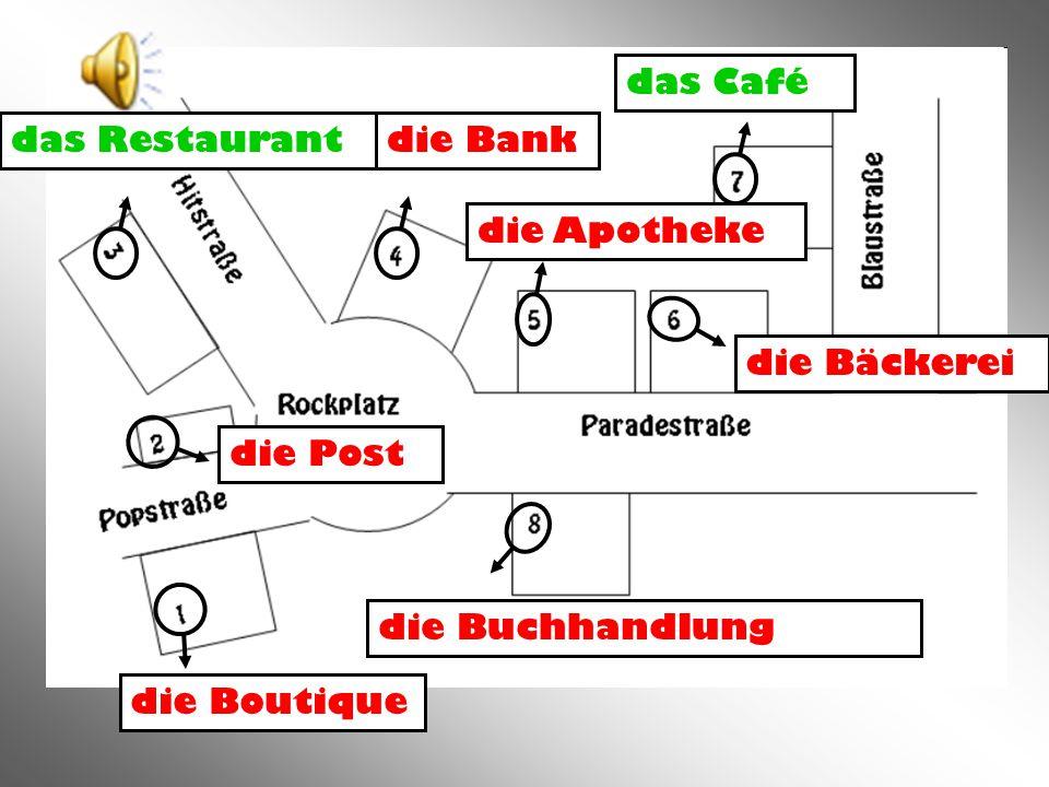die Bank das Café das Restaurant die Buchhandlung die Bäckerei die Apotheke die Boutique die Post