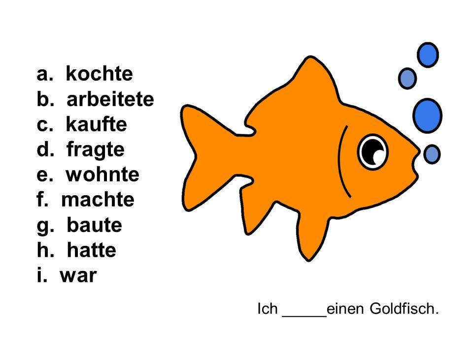 Ich _____einen Goldfisch. a. kochte b. arbeitete c.