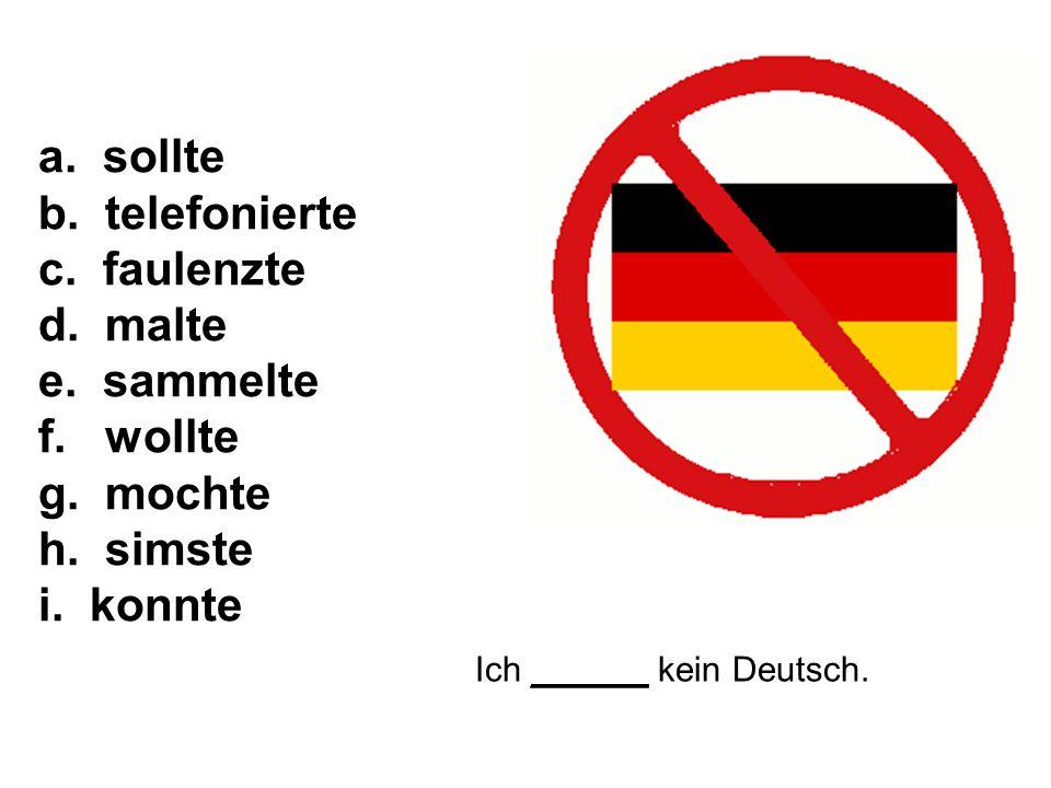 Ich ______ kein Deutsch. a. sollte b. telefonierte c.