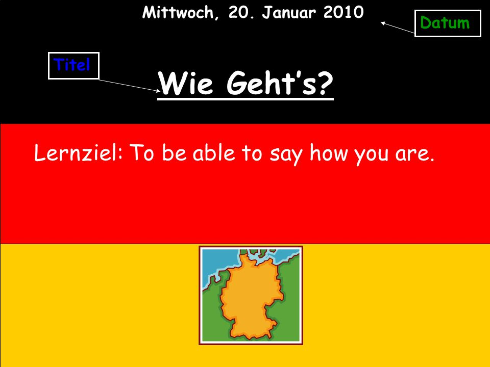 Wie Geht's? Lernziel: To be able to say how you are. Titel Datum Mittwoch, 20. Januar 2010