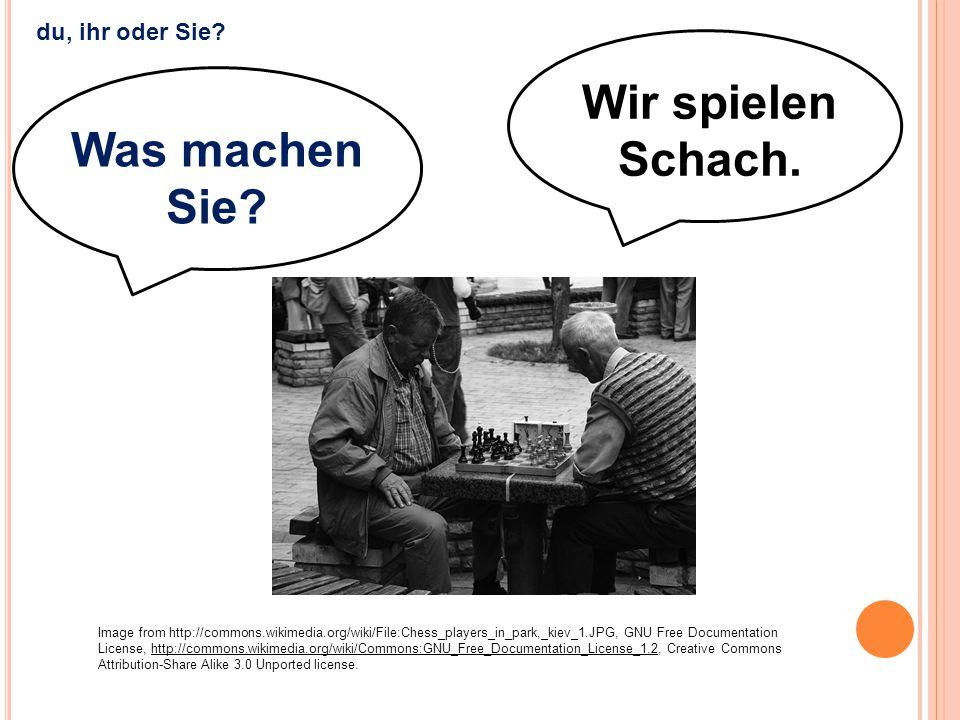 Wir spielen Schach. Was machen Sie? Image from http://commons.wikimedia.org/wiki/File:Chess_players_in_park,_kiev_1.JPG, GNU Free Documentation Licens