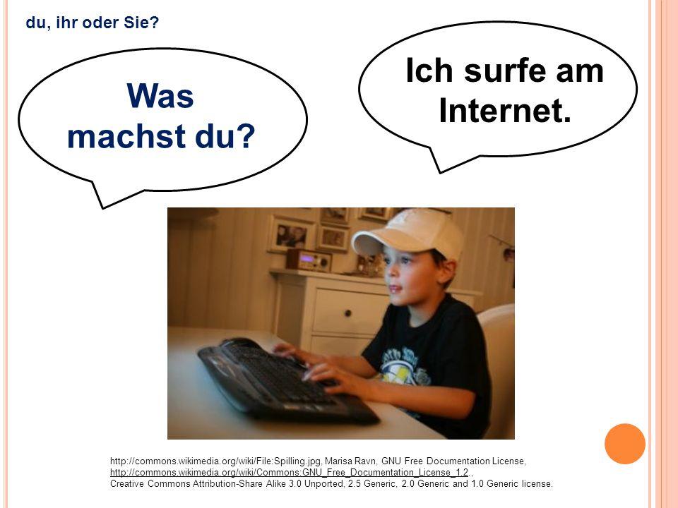 Ich surfe am Internet. http://commons.wikimedia.org/wiki/File:Spilling.jpg, Marisa Ravn, GNU Free Documentation License, http://commons.wikimedia.org/