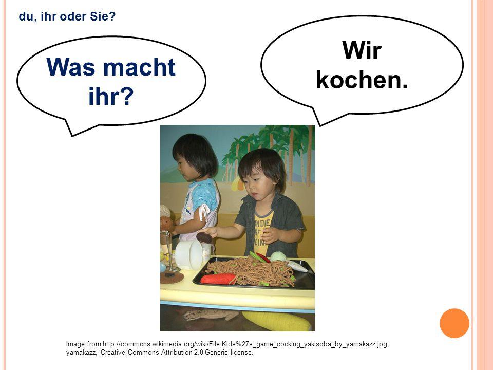 Wir kochen. Image from http://commons.wikimedia.org/wiki/File:Kids%27s_game_cooking_yakisoba_by_yamakazz.jpg, yamakazz, Creative Commons Attribution 2