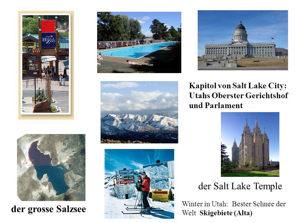 Kapitol von Salt Lake City: Utahs Oberster Gerichtshof und Parlament der grosse Salzsee der Salt Lake Temple Winter in Utah: Bester Schnee der Welt Skigebiete (Alta)