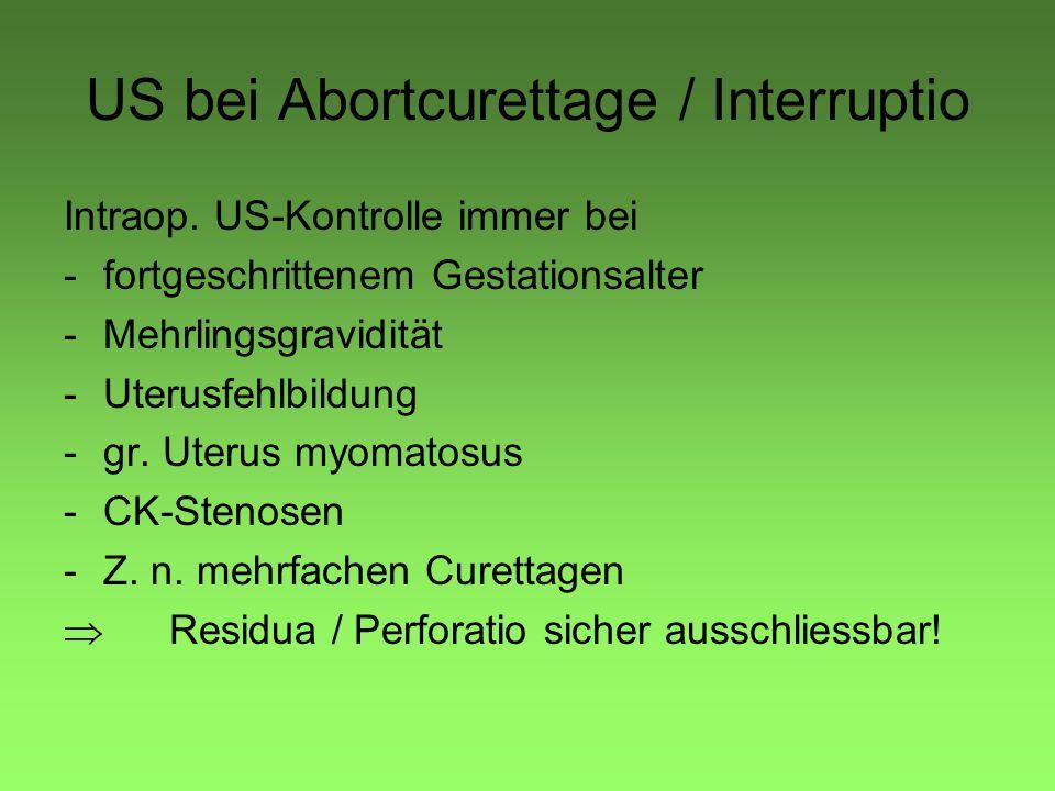 US bei Abortcurettage / Interruptio Intraop. US-Kontrolle immer bei -fortgeschrittenem Gestationsalter -Mehrlingsgravidität -Uterusfehlbildung -gr. Ut