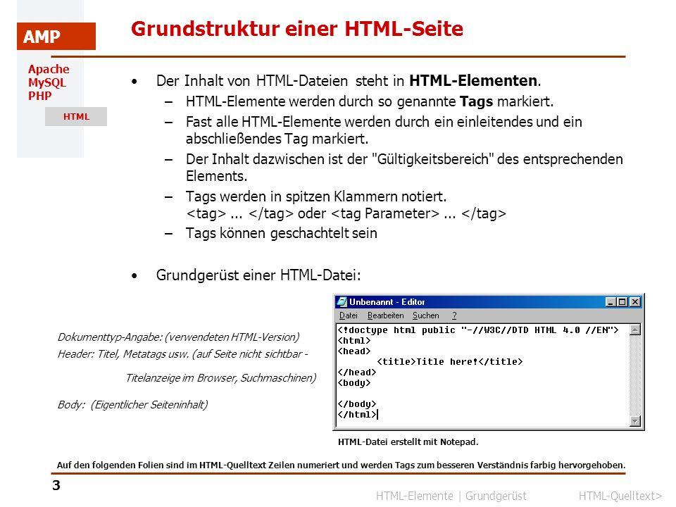 Apache MySQL PHP HTML AMP 4 HTML-Quelltext Browseranzeige HTML-Quelltext im Editor Der HTML-Quelltext ist formatfrei.
