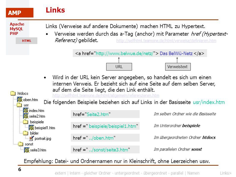 Apache MySQL PHP HTML AMP 7 Links Für Verweise auf Stellen im selben Dokument können in der HTML-Datei Anker gesetzt werden Zu den so markierten Stellen kann durch einen Link gesprungen werden.