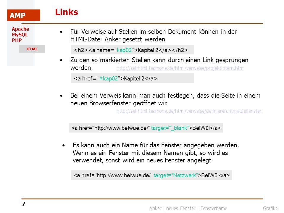 Apache MySQL PHP HTML AMP 8 Grafiken einbinden Grafiken werden mit dem img-Tag eingebunden.