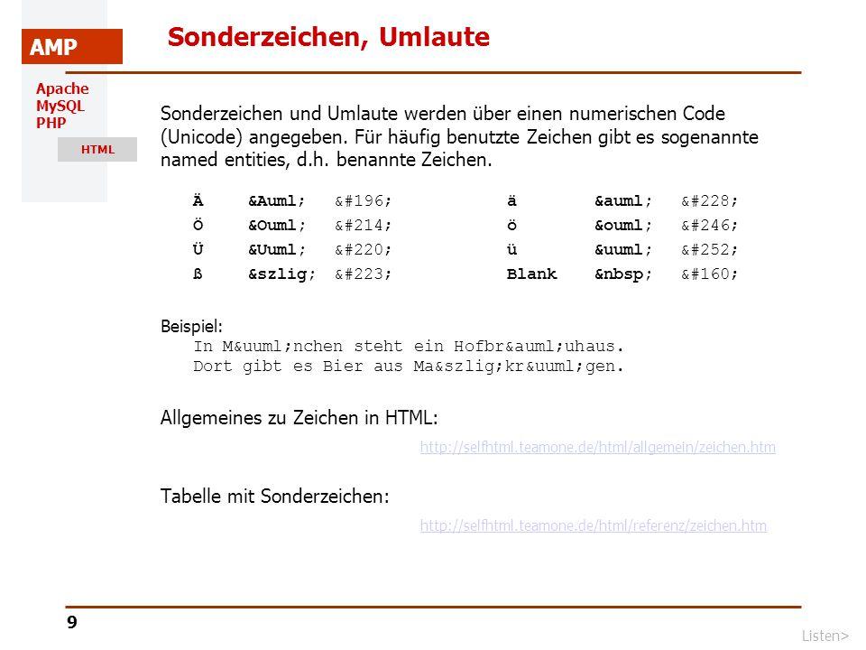 Apache MySQL PHP HTML AMP 10 Listen unordered | ordered | BeispielTabellen> Listen mit (unordered list) Numerierte Listen mit (ordered List) http://selfhtml.teamone.de/html/text/listen.htm http://selfhtml.teamone.de/html/text/listen.htm