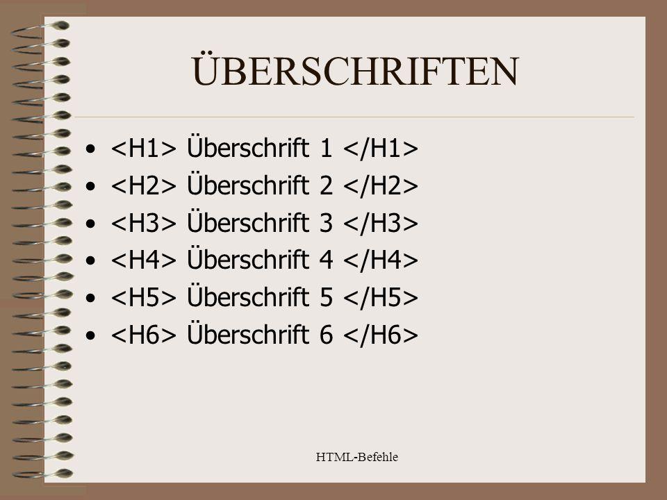 HTML-Befehle ÜBERSCHRIFTEN Überschrift 1 Überschrift 2 Überschrift 3 Überschrift 4 Überschrift 5 Überschrift 6