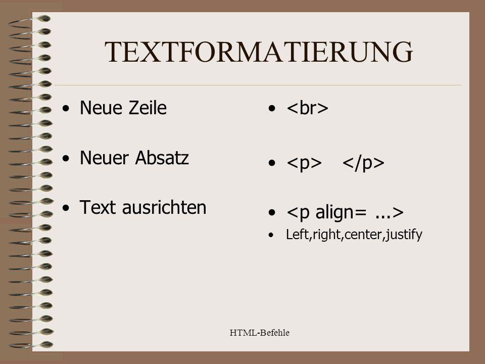 HTML-Befehle ZEICHENFORMATIERUNG Fett Unterstrichen Schreibmaschine