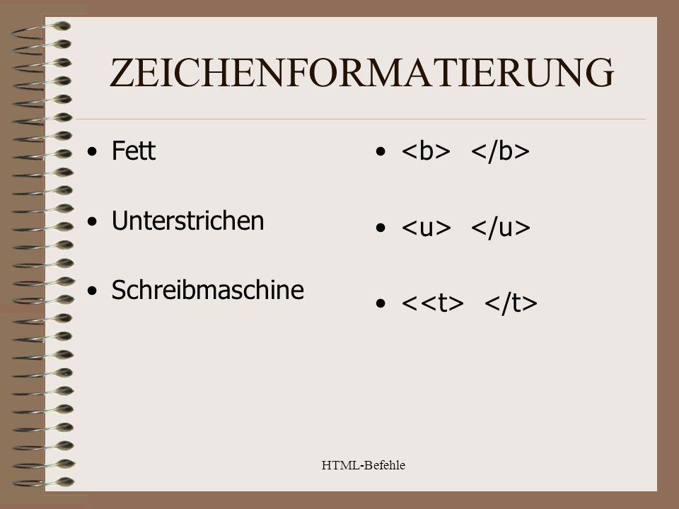 HTML-Befehle LINKS Zu anderer Datei Anker setzen In der selben Datei Zu einem Bild Hier zur Seite xy...