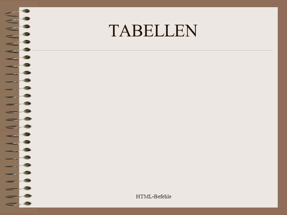 HTML-Befehle TABELLEN