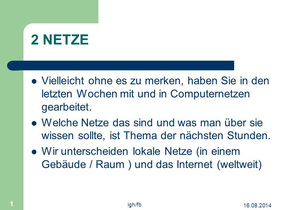 16.08.2014 igh/fb 1 2 NETZE Vielleicht ohne es zu merken, haben Sie in den letzten Wochen mit und in Computernetzen gearbeitet.