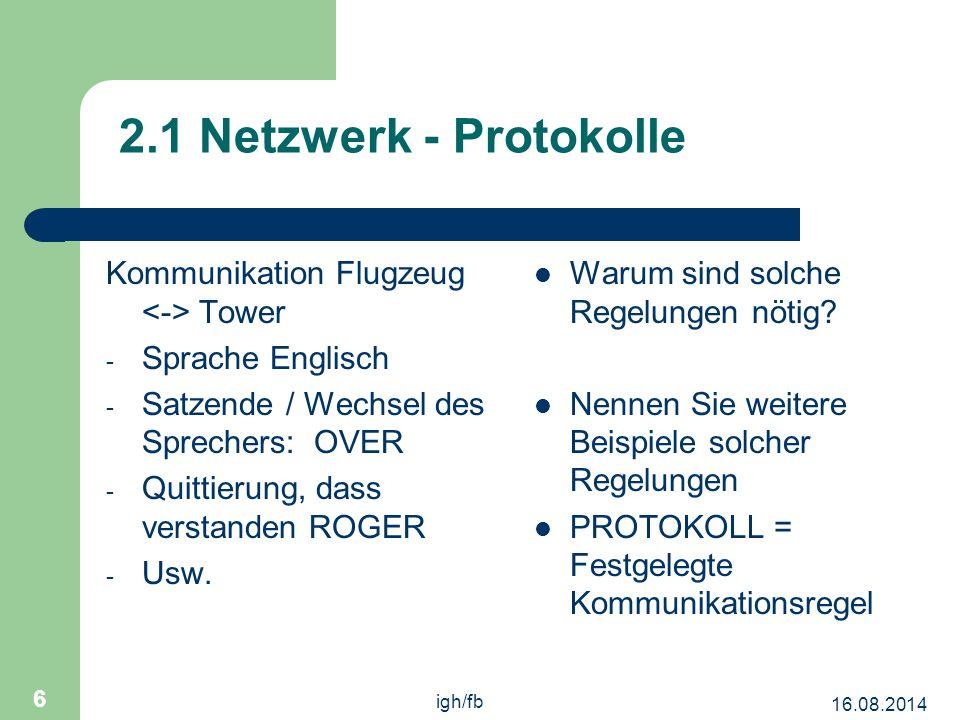 16.08.2014 igh/fb 6 2.1 Netzwerk - Protokolle Kommunikation Flugzeug Tower - Sprache Englisch - Satzende / Wechsel des Sprechers: OVER - Quittierung, dass verstanden ROGER - Usw.