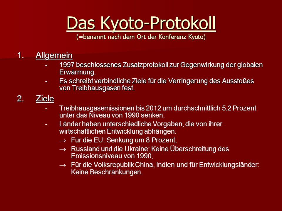 Das Kyoto-Protokoll (=benannt nach dem Ort der Konferenz Kyoto) 1.A llgemein -1-1-1-1997 beschlossenes Zusatzprotokoll zur Gegenwirkung der globalen Erwärmung.