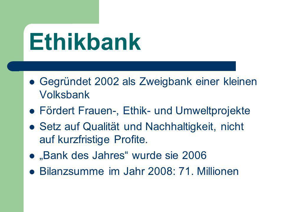 Ethikbank Gegründet 2002 als Zweigbank einer kleinen Volksbank Fördert Frauen-, Ethik- und Umweltprojekte Setz auf Qualität und Nachhaltigkeit, nicht