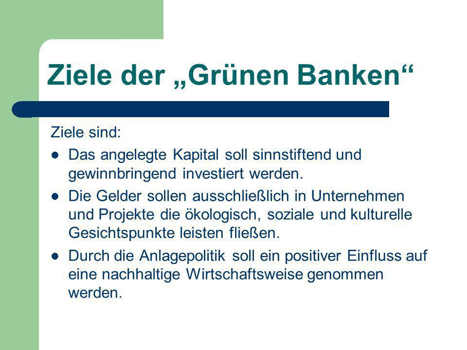 """Ziele der """"Grünen Banken"""" Ziele sind: Das angelegte Kapital soll sinnstiftend und gewinnbringend investiert werden. Die Gelder sollen ausschließlich i"""