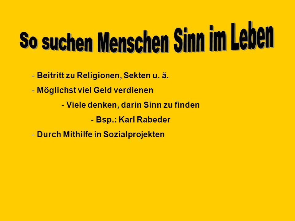 - Beitritt zu Religionen, Sekten u. ä. - Möglichst viel Geld verdienen - Viele denken, darin Sinn zu finden - Bsp.: Karl Rabeder - Durch Mithilfe in S