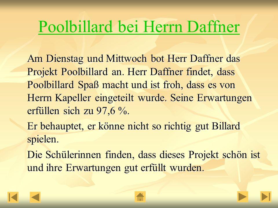 Am Dienstag und Mittwoch bot Herr Daffner das Projekt Poolbillard an.