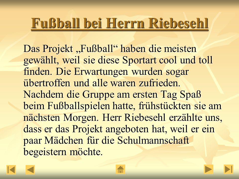 """Fußball bei Herrn Riebesehl Das Projekt """"Fußball haben die meisten gewählt, weil sie diese Sportart cool und toll finden."""
