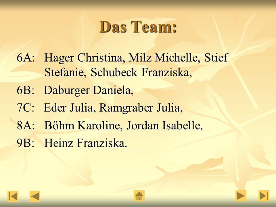 Das Team: 6A: Hager Christina, Milz Michelle, Stief Stefanie, Schubeck Franziska, 6B: Daburger Daniela, 7C: Eder Julia, Ramgraber Julia, 8A: Böhm Karoline, Jordan Isabelle, 9B:Heinz Franziska.