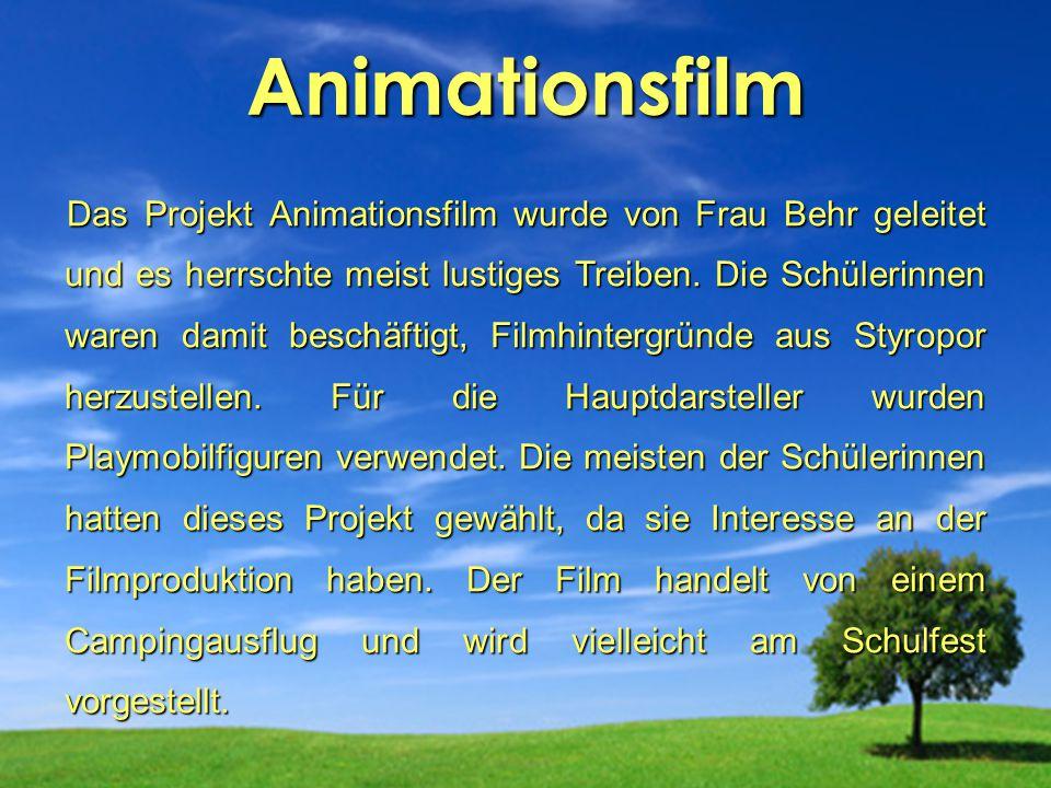 Animationsfilm Das Projekt Animationsfilm wurde von Frau Behr geleitet und es herrschte meist lustiges Treiben. Die Schülerinnen waren damit beschäfti