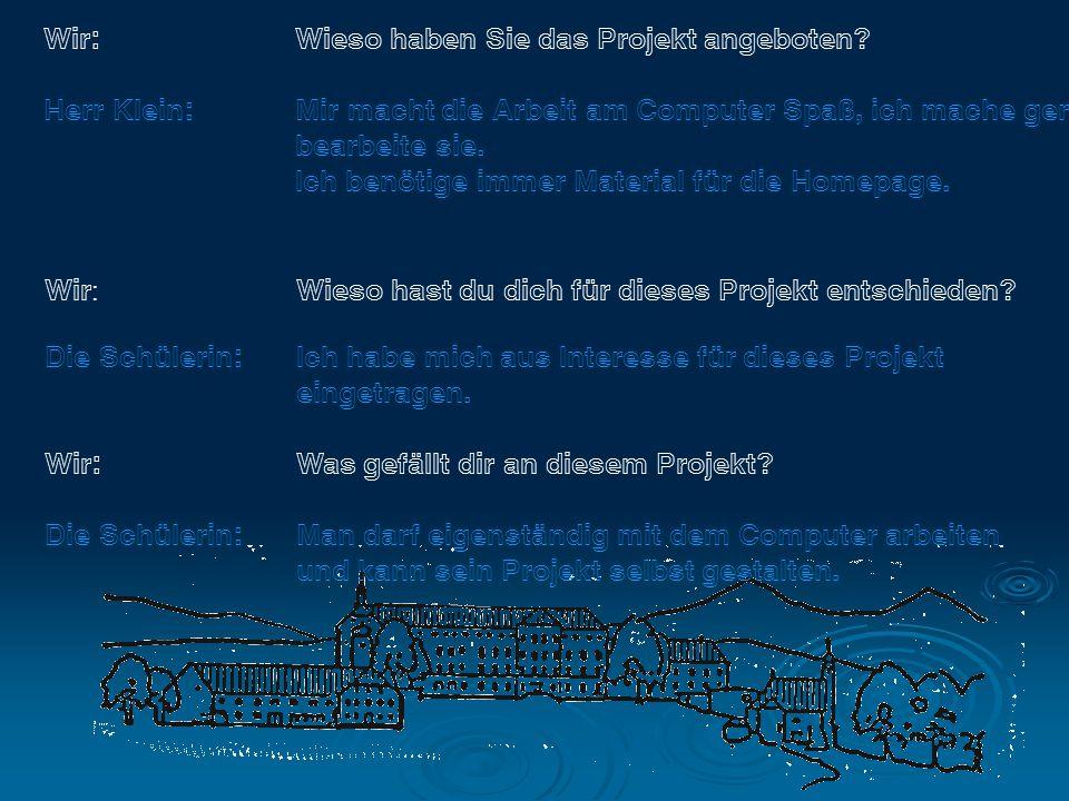 Wir: Wieso haben Sie das Projekt angeboten.