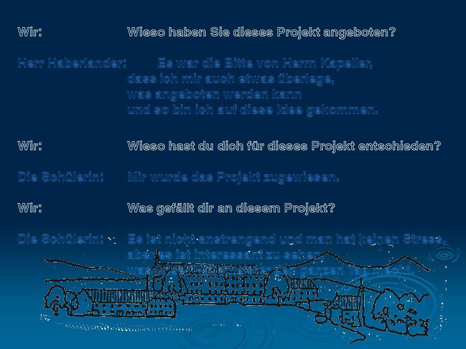 Wir: Wieso haben Sie dieses Projekt angeboten? Herr Haberlander: Es war die Bitte von Herrn Kapeller, dass ich mir auch etwas überlege, was angeboten