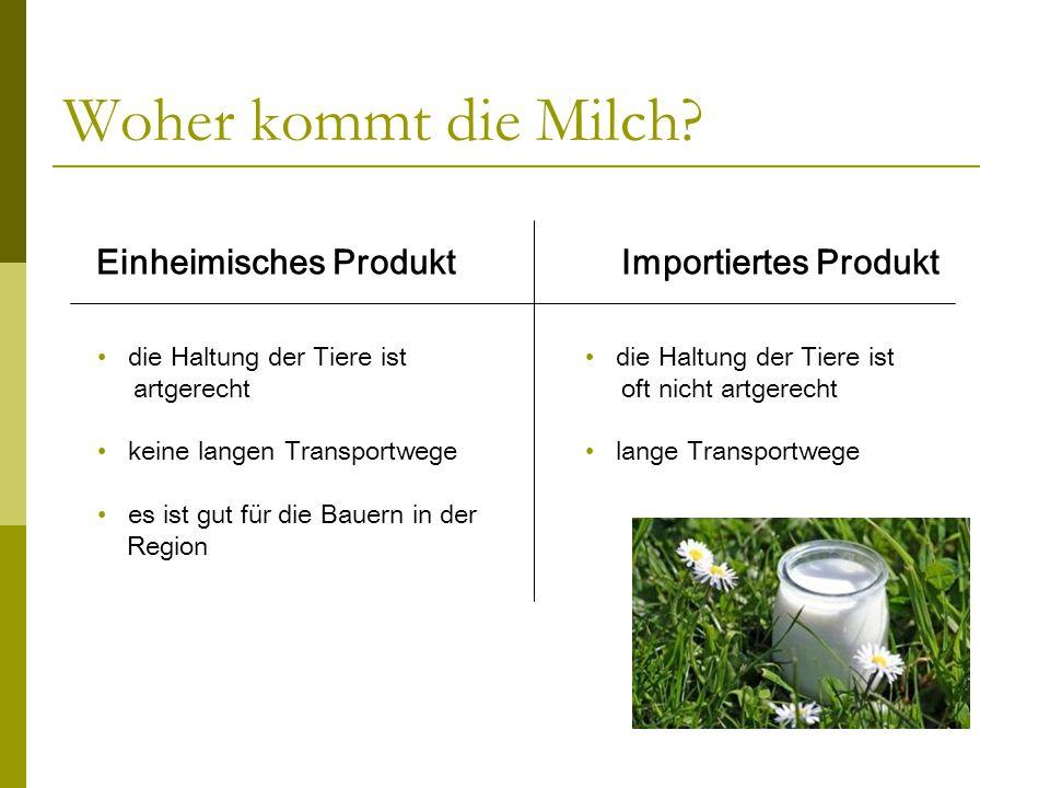 Woher kommt die Milch? Einheimisches Produkt Importiertes Produkt die Haltung der Tiere ist artgerecht keine langen Transportwege es ist gut für die B