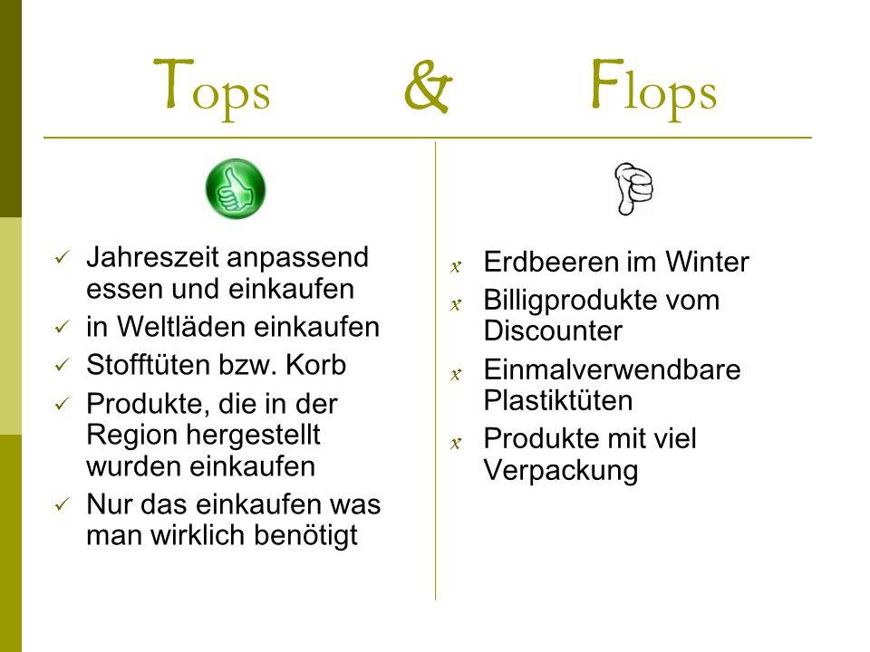 T ops & F lops Jahreszeit anpassend essen und einkaufen in Weltläden einkaufen Stofftüten bzw. Korb Produkte, die in der Region hergestellt wurden ein