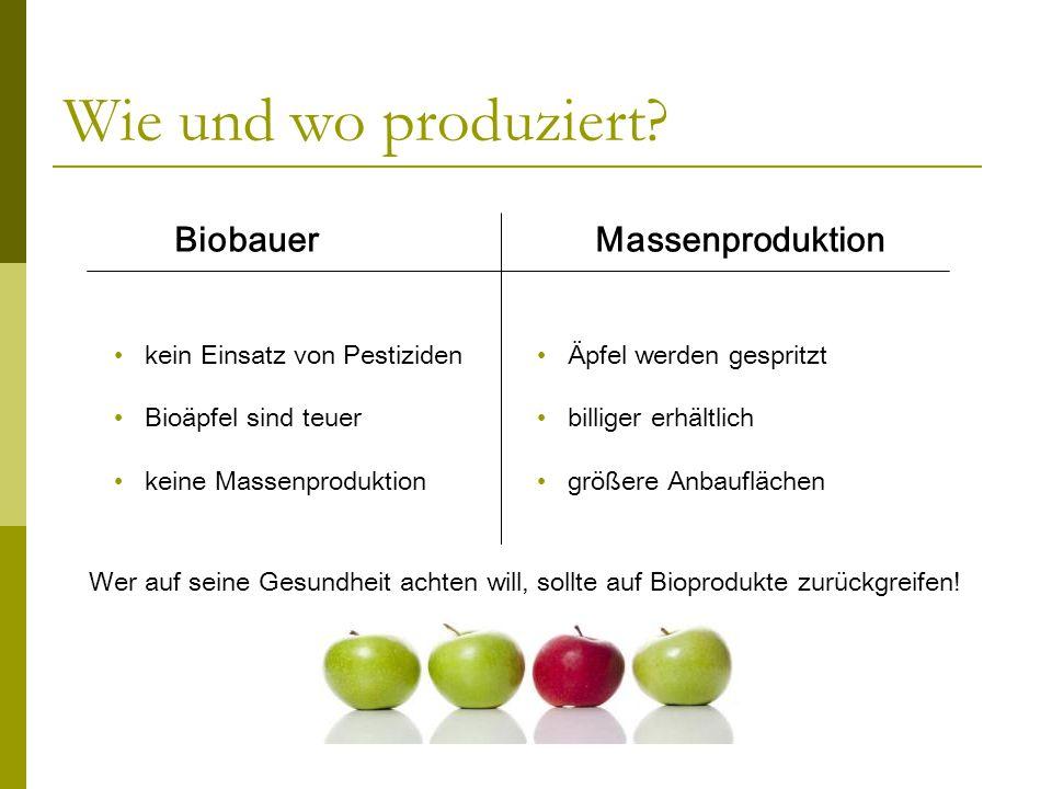 Wie und wo produziert? BiobauerMassenproduktion kein Einsatz von Pestiziden Bioäpfel sind teuer keine Massenproduktion Äpfel werden gespritzt billiger