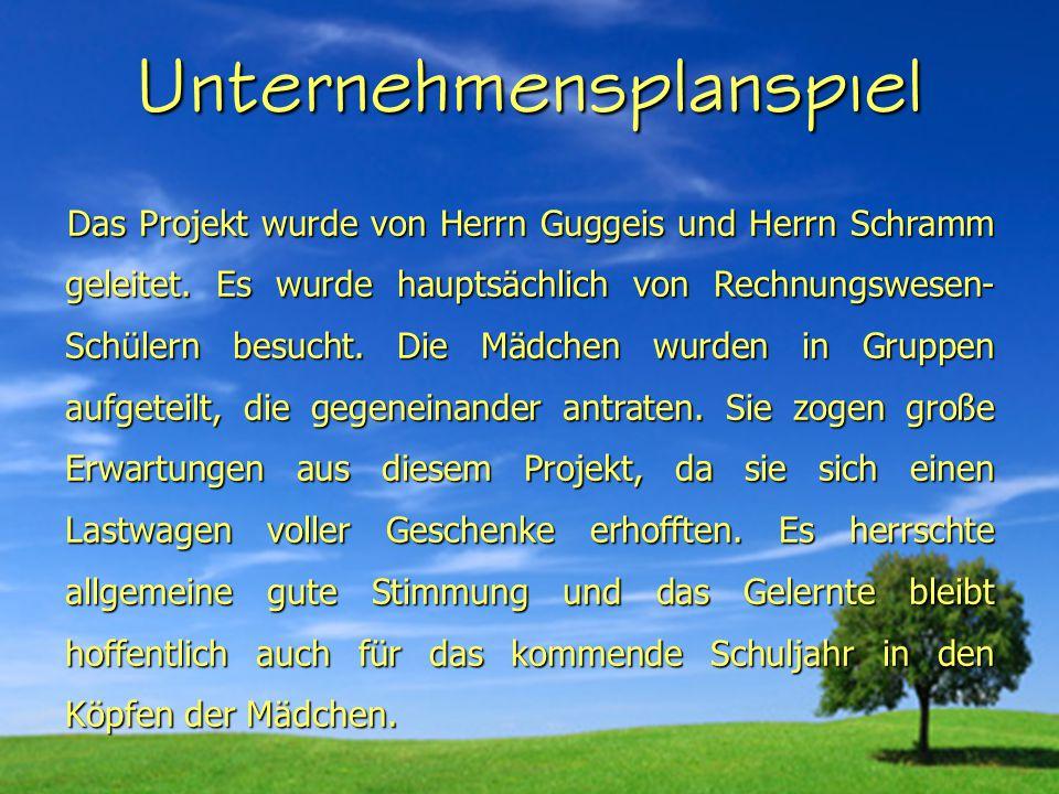 Unternehmensplanspiel Das Projekt wurde von Herrn Guggeis und Herrn Schramm geleitet.
