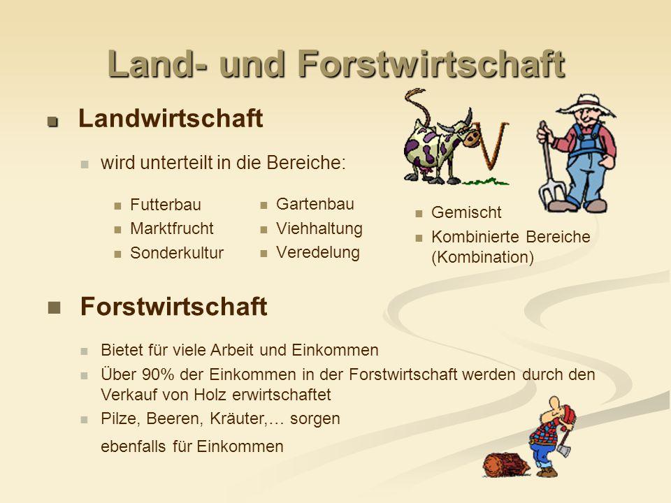 Land- und Forstwirtschaft Beispiel Deutschland ~ 11,1 Mio.