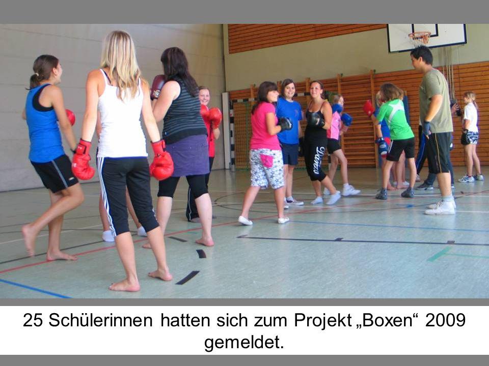 """25 Schülerinnen hatten sich zum Projekt """"Boxen"""" 2009 gemeldet."""
