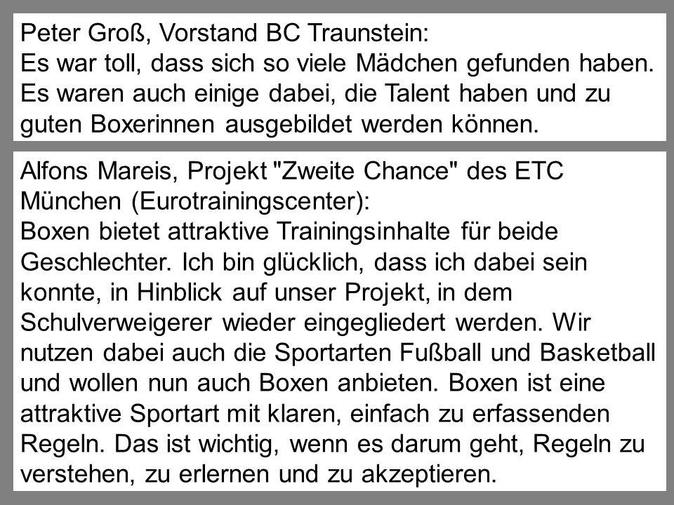 Peter Groß, Vorstand BC Traunstein: Es war toll, dass sich so viele Mädchen gefunden haben. Es waren auch einige dabei, die Talent haben und zu guten