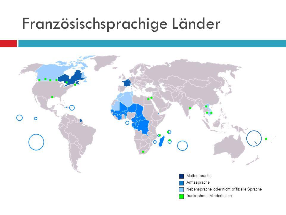 Französischsprachige Länder Muttersprache Amtssprache Nebensprache oder nicht offizielle Sprache frankophone Minderheiten