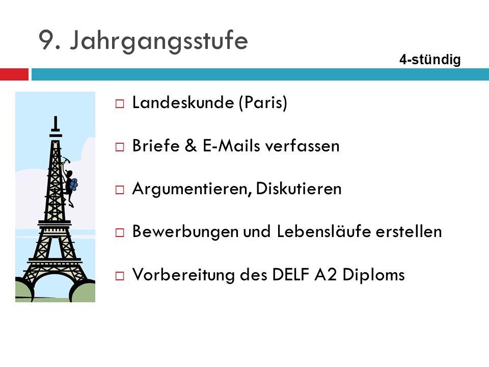  Schwerpunkt: Wiederholung, Festigung und Vertiefung des bereits Gelernten  Interesse am Weiterführen der Sprache wecken  Vorbereitung der Abschlussprüfung (DELF B1 Diplom) 10.