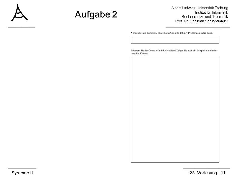 Albert-Ludwigs-Universität Freiburg Institut für Informatik Rechnernetze und Telematik Prof. Dr. Christian Schindelhauer Systeme-II23. Vorlesung - 11