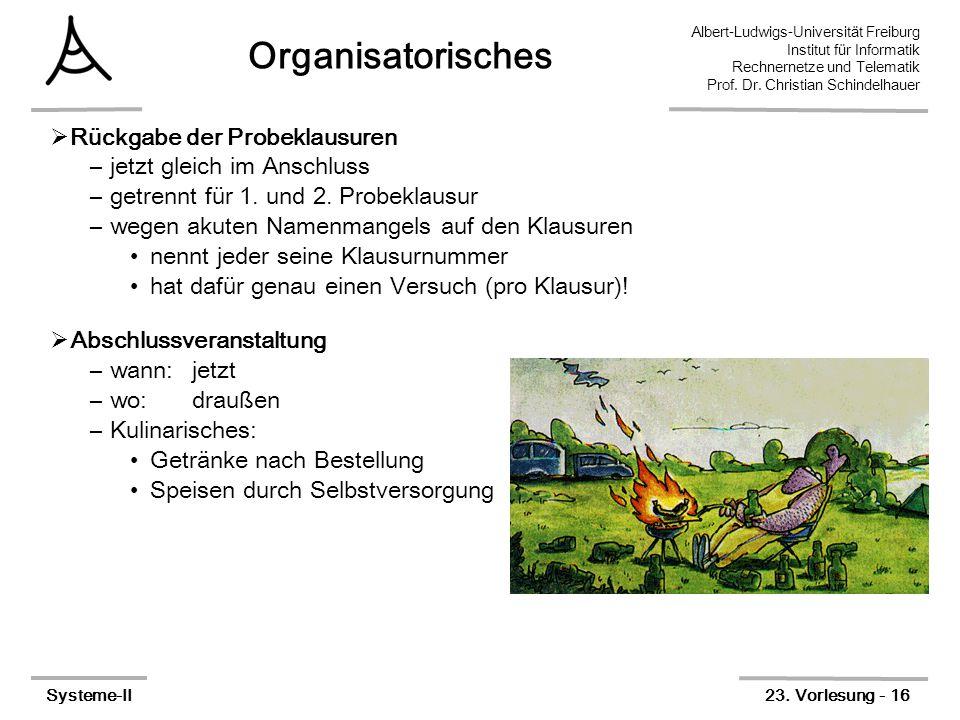 Albert-Ludwigs-Universität Freiburg Institut für Informatik Rechnernetze und Telematik Prof. Dr. Christian Schindelhauer Systeme-II23. Vorlesung - 16